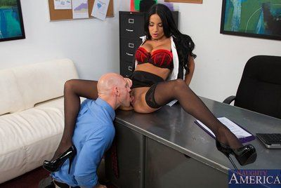 Girl in stockings Anissa Kate lets guy lick her pussy and rub cock between boobs and nub lips