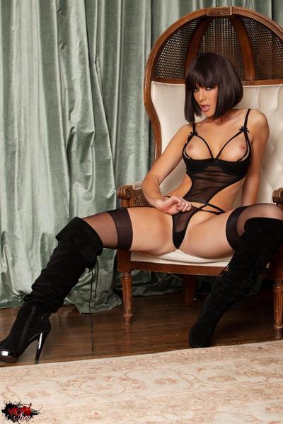 Busty blonde goddess Kayden Kross poses in hot black lingerie and stockings