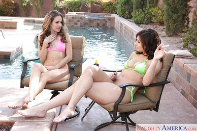 Teen pornstars Kimmy Granger and Leah Gotti lick twat and suck cock by pool