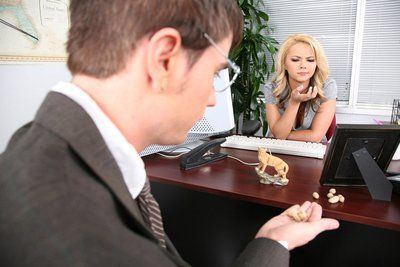 Sexy bodied office babe Ashlynn Brooke takes off her clothes and gets nailed on a desk