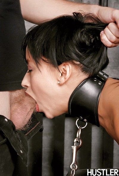 Fetish babe Roxanne is tied tight, gets her pussy fingered and throat fucked
