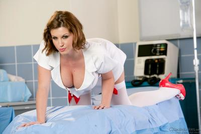 The big titted nurse Sara Stone is performing the hot softcore session with red lingerie show