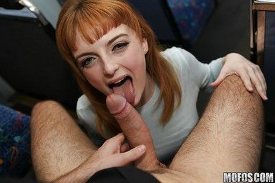 Amateur redhead Lola Gatsby gets ass fucked on public transit
