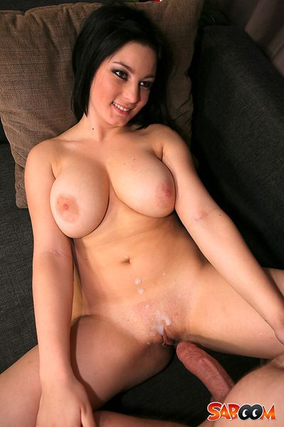 Massive cock creaming her twat after a great fuck