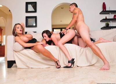 Superb babes are having intense pleasure fucking the same cock in wild threesome