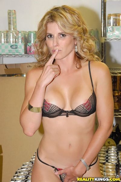 Charming blonde milf Cory Chase strips down to her bra then gets screwed and facialized