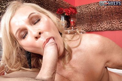 Naughty grandmother Bethany James licking and sucking cock for sperm facial
