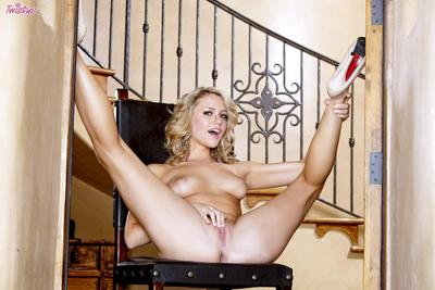Juicy bodied blonde Mia Malkova shows off her goodies and touches herself nastily