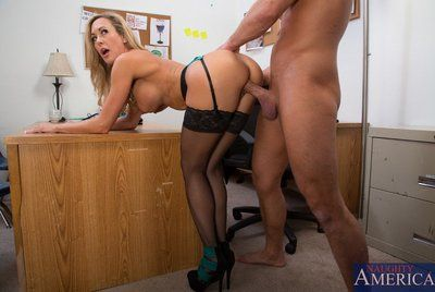 Guy is pleasingly penetrating the pussy of the beautiful busty milf Brandi Love