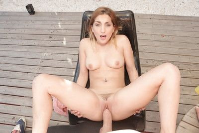 Young blonde with fien curves Jimena Lago sucks cock in POV and rides it