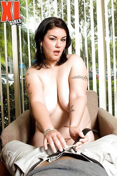 Tattooed brunette BBW Gwen Etoile tit fucking large penis during hardcore sex