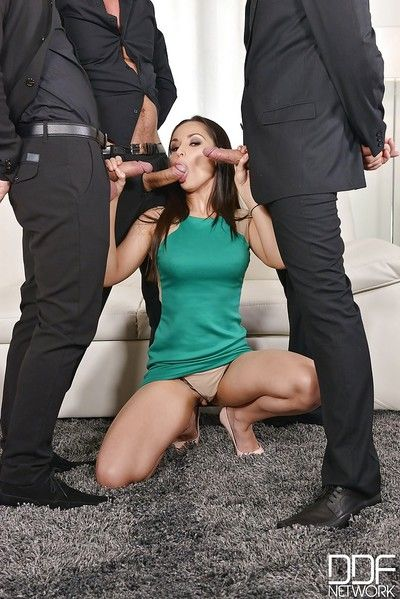 Aurelly Rebel strips off short dress before gangbang and blowbang