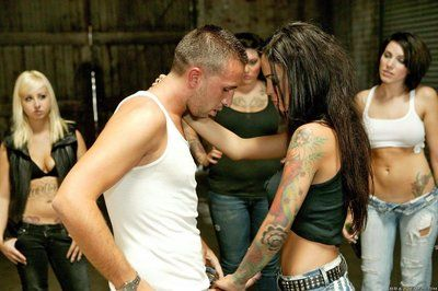 Tattooed brunette Angelina Valentine with long legs and round tits has wild sex with big dicked guy