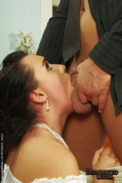 Dark haired babe Wild Devil enjoys BDSM action in her wedding dress