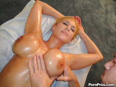 Oiled up cutie Alanah Rae gets her body and big tits massaged and pussy banged