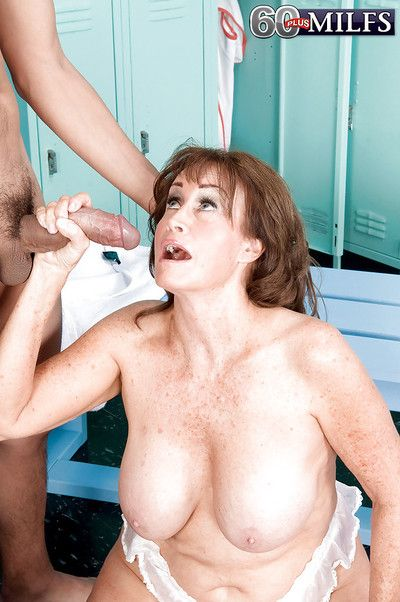 Plump cougar Jacqueline Jolie fucking much younger man in locker room