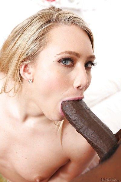 Nude blonde girl AJ Applegate delivering interracial blowjob on knees