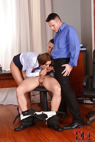 Dynamic young babe Dominica Phoenix blowjobs guys in office room