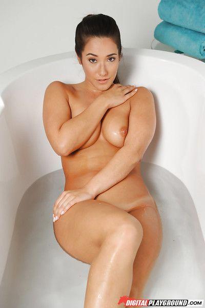 Solo girl Eva Lovia slips thong underwear over nice ass for bush spreading