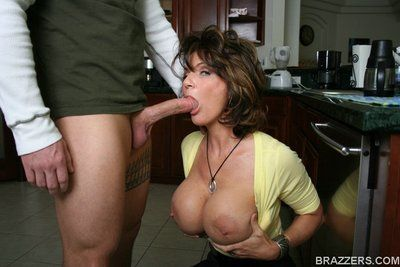 Sexy big racked mature babe Deauxma in color blouse gets humped in the kitchen