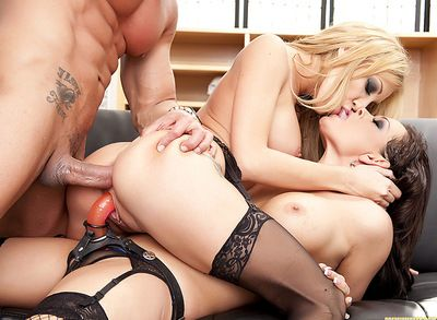 Adorable Tory Lane and her sexy doll are here to suck huge his meat stick