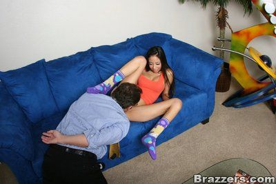 Spectacled man bangs raven haired slim dish Alexis Love with great desire