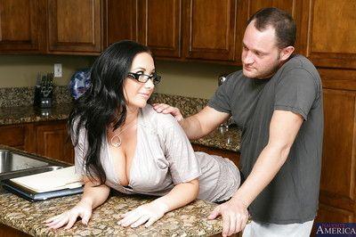 Stellar brunette in glasses Jayden wants to suck a huge cock in the kitchen
