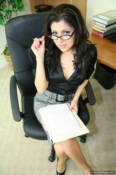 Beautiful black haired office babe Sativa Rose gets her pussy banged from behind