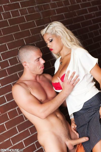 Blonde Bridgette B petting the huge tits when swallowing and fucking the piston