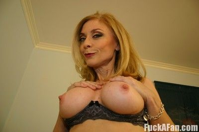 Sassy girl Nina Hartley stays in sexy stockings when pounded in mouth and pussy