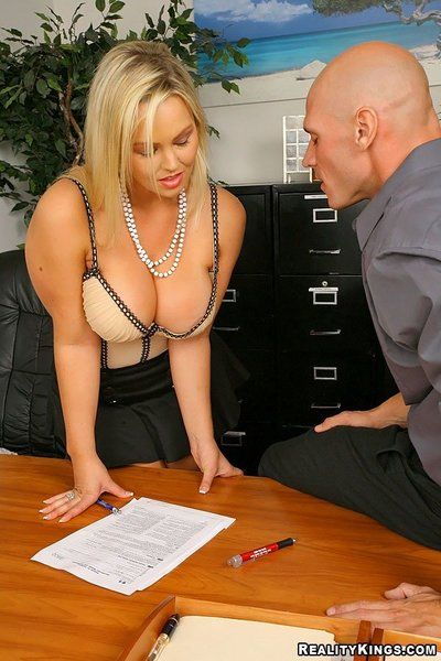 Hot office blonde Abbey Brooks with huge tits strips nude and gets her pussy banged