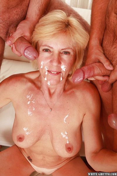 Slutty granny gets fucked hardcore and facialized by four guys