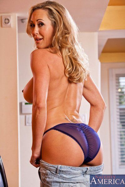 Bosomy blonde Brandi Love lets the big rod work her milf boobs and pussy up