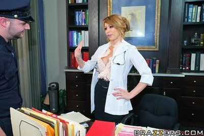 Beautiful leggy lady doctor Monique Alexander in black nylons has sex with big cocked patient
