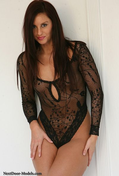 Dazzling beauty in sexy black lingerie gives amazing solo session