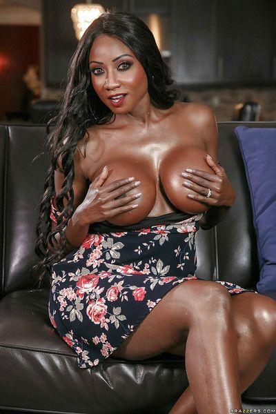 Ebony MILF Diamond Jackson revealing huge black tits while undressing