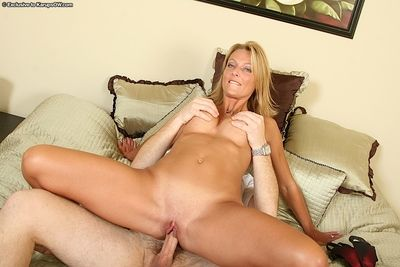 Milf Brenda James finds her firm tits cum covered after getting slammed in her shaved pussy