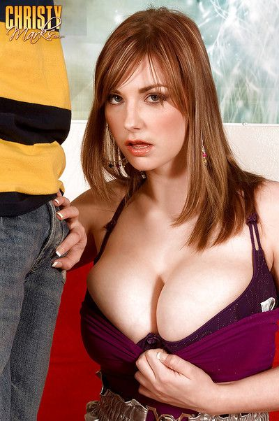 Pretty female Christy Marks giving tit fuck before banging large penis