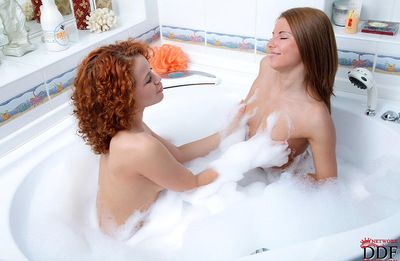 Two sultry and good looking lesbians in panties are demonstrating their natural mammaries