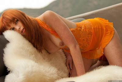 Redhead beauty Marie McCray in lace nightie shows her small tits outdoors