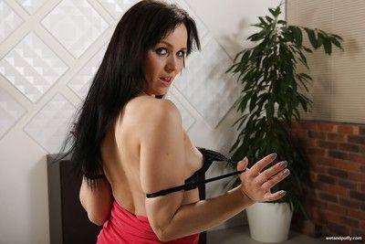 Tattooed slut Ally Stylein stocking spreading pussy & masturbating with dildo
