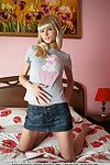 Skinny teenage playgirl Alicia enjoys stripping down on the bed