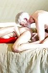 Skinny young girl Rebel Lynn kissing old man before hardcore fuck session