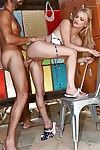 Beach babe Staci Carr jacking cock for external cumshot in changing room