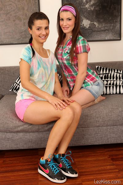 Puffy lesbian show with two meager youthful darlings