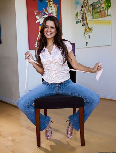 Unbelievable and nasty solo youthful Ann Marie with feel like legs is showing her jugs