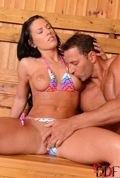 Horny Athina enjoys heavy cock drilling her from behind while in the sauna