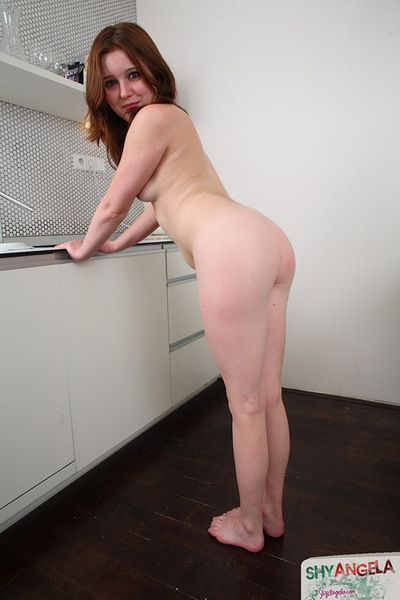 Shy Angela is pretty when it comes to playing with her dazzling skinhead vagina