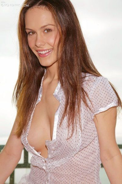 Surprising brunette hair beauty Mia Melbourne with from bottom to top shaped firm bra buddies spreads her legs