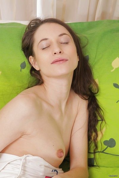 Cute young cutie Jennifer inserts a fancy marital-device in her wet cum-hole and asshole